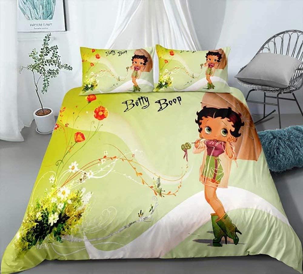 Girls Betty Boop Duvet Covet Set Full Size,Popular Cartoon Character Bedding Set,3 Piece Luxury Bed Quilt Cover,Bedroom Decor Bithday Gift for Women Kids with 2 Pillowcases