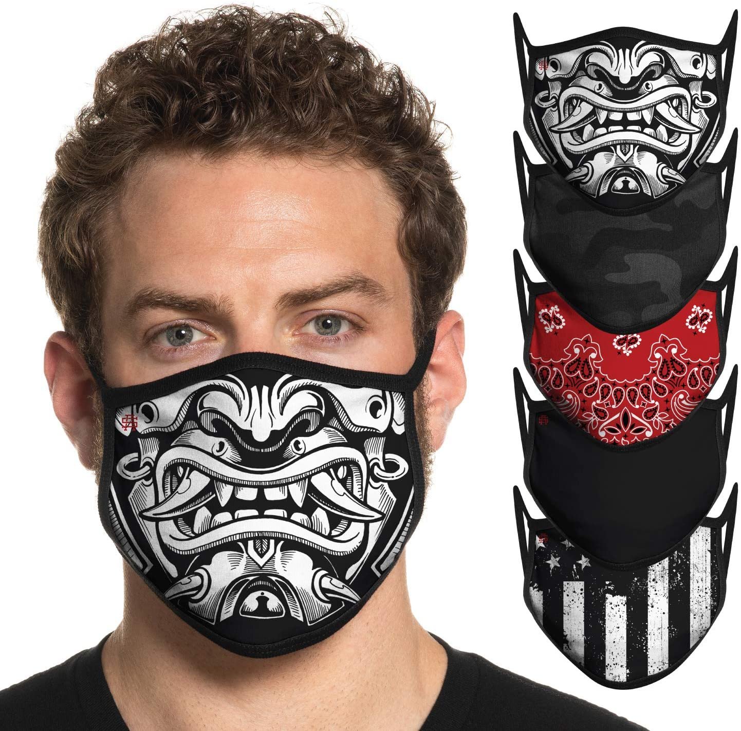 Secret Artist Assorted 5- Pack Designer Non Pleated Cloth Face Mask Reusable. Cloth Face Mask Washable- Fits Extra Small and Small Faces. Unisex Cloth Face Masks. Masks Made in USA.