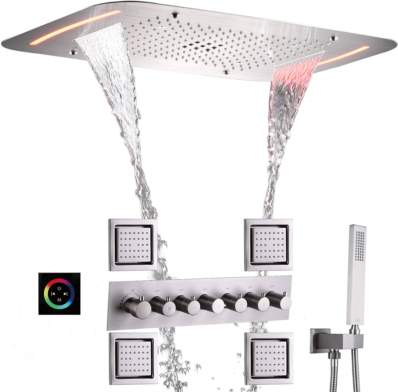 DULABRAHE Brushed LED Shower System Set 28X17 Inch Large Bathroom Shower Head & LED Panel Thermostatic Shower Faucet Message Sprayer Body Jets Multi Functions Work Together