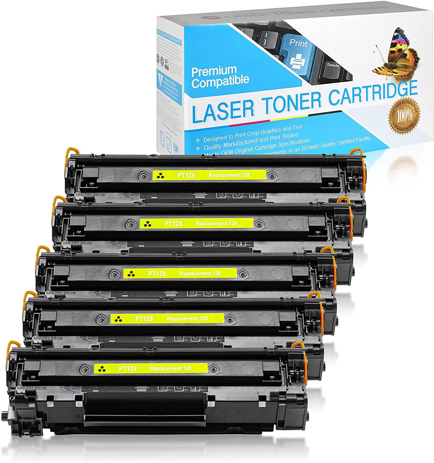 SuppliesOutlet Compatible Toner Cartridge Replacement for Canon 128 / 3500B001AA (Black,5 Pack)