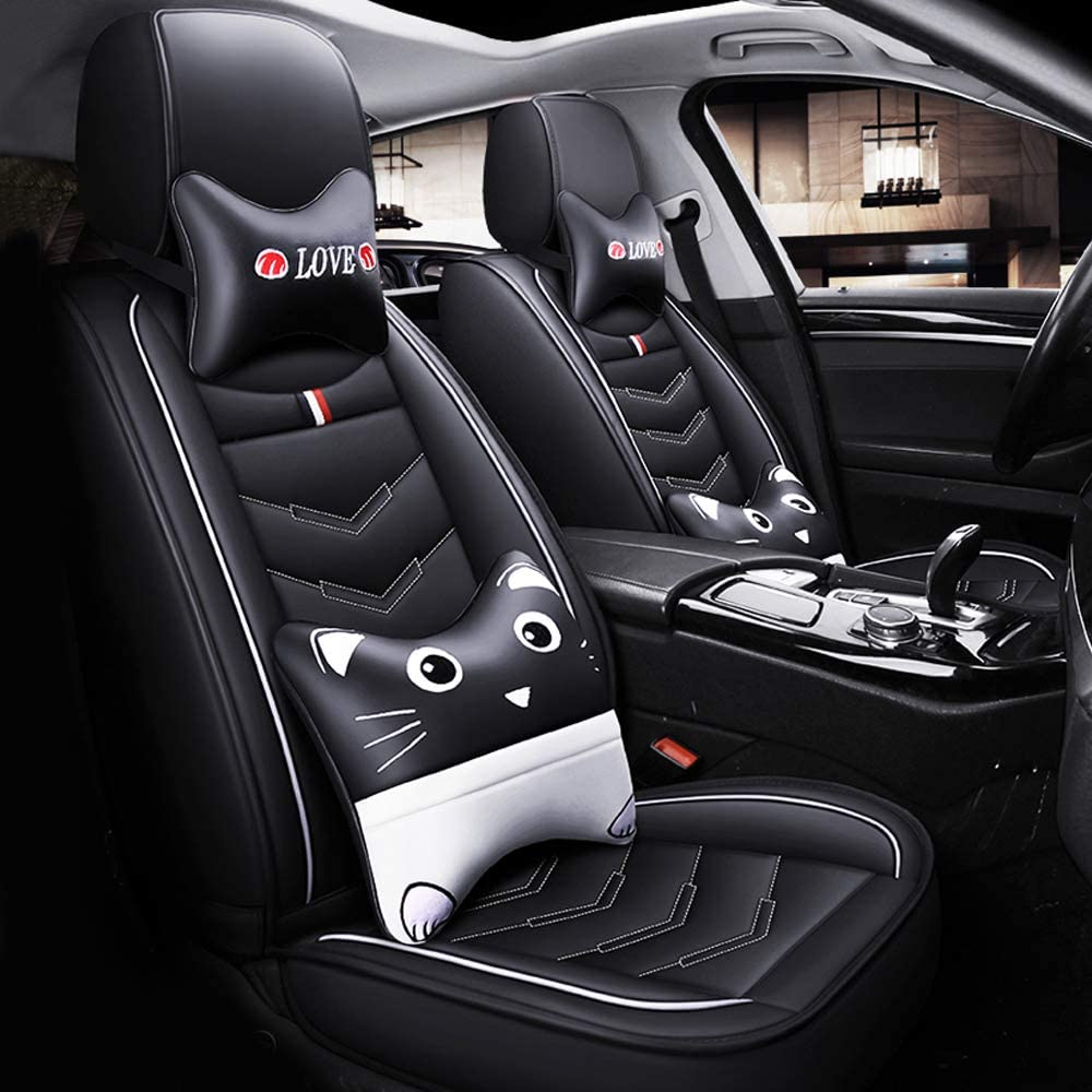 Car Seat Covers for Lincoln MKZ 2013-2020 5 Seats Full Set Car Seat Cushions with Cartoon Headrests and Lumbar Support Leather Seat Protector Black White