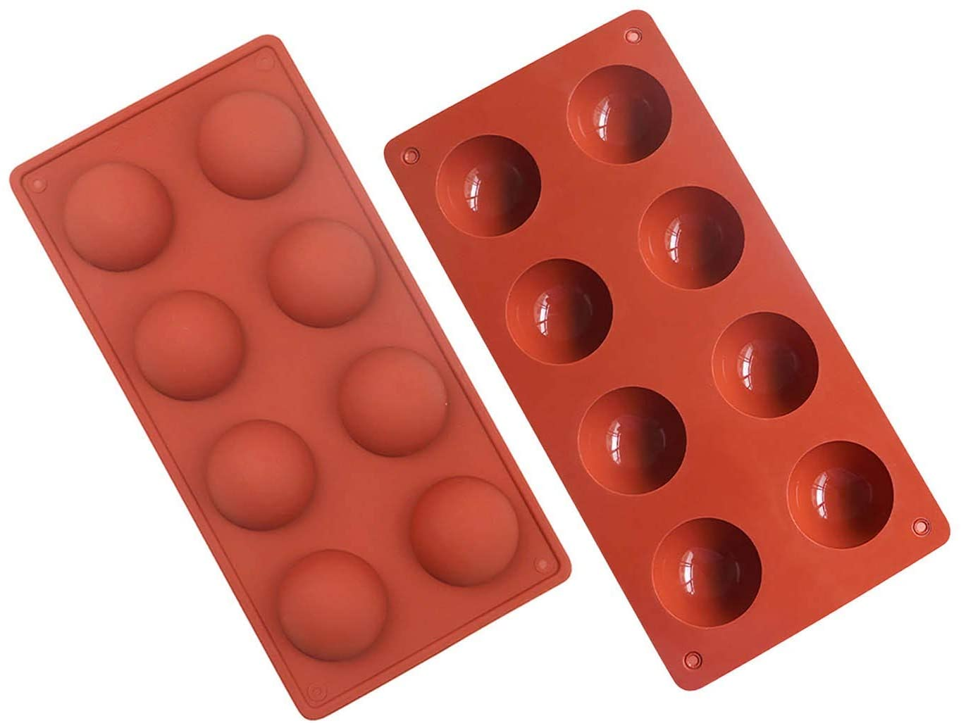 8 Holes Silicone Mold For Chocolate, Cake, Jelly, Pudding, Handmade Soap, Round Shape,Set of 2