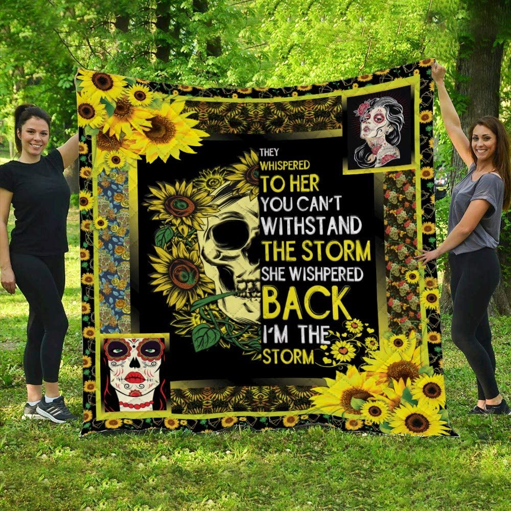 Sunflower Skull Girl Quilt DK437, Queen All-Season Quilts Comforters with Reversible Cotton King/Queen/Twin Size - Best Decorative Quilts-Unique Quilted for Gifts