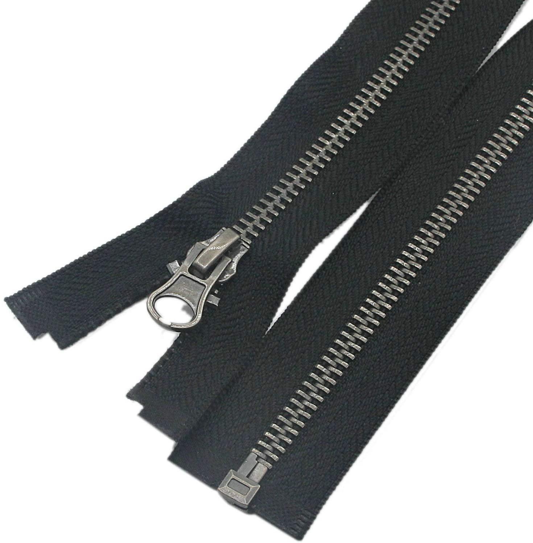 Leekayer 2pcs #5 28 Inch Metal Zippers for Jackets Sewing Coats Crafts Antique Silver Separating Zipper 71cm Metal Zipper Heavy Duty (28
