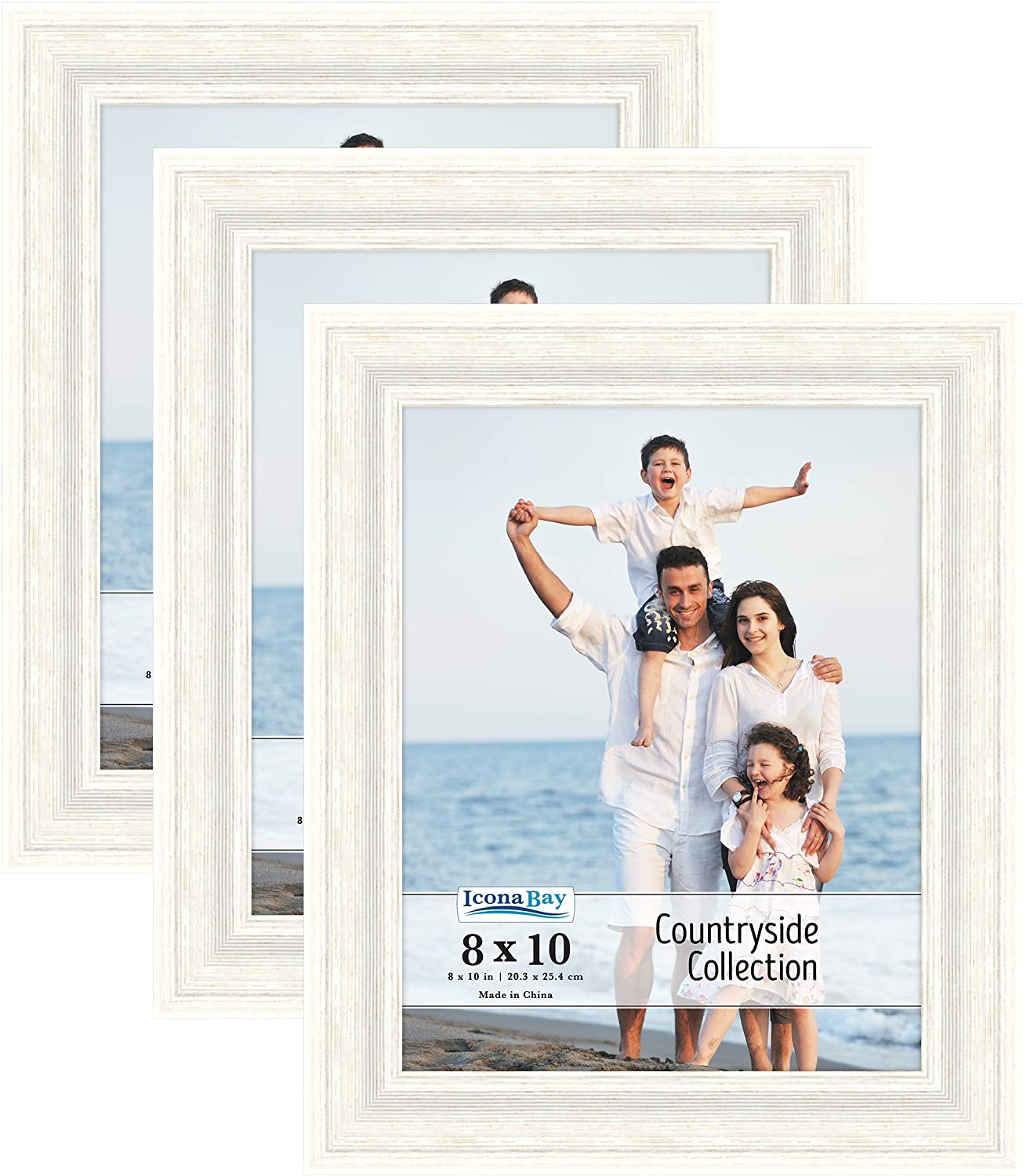 Icona Bay 8x10 Picture Frames (Alpine White, 3 Pack), French Country Style Picture Frame Set, Wall Mount or Table Top, Countryside Collection
