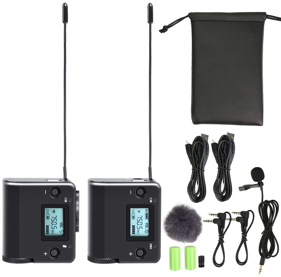 Hopcd Wireless Microphone System, High Frequency UHF Lapel Condenser Microphone, with Reciever/Transmitter 100M Working Distance for DSLR Camera Interview, Teaching, Podcast