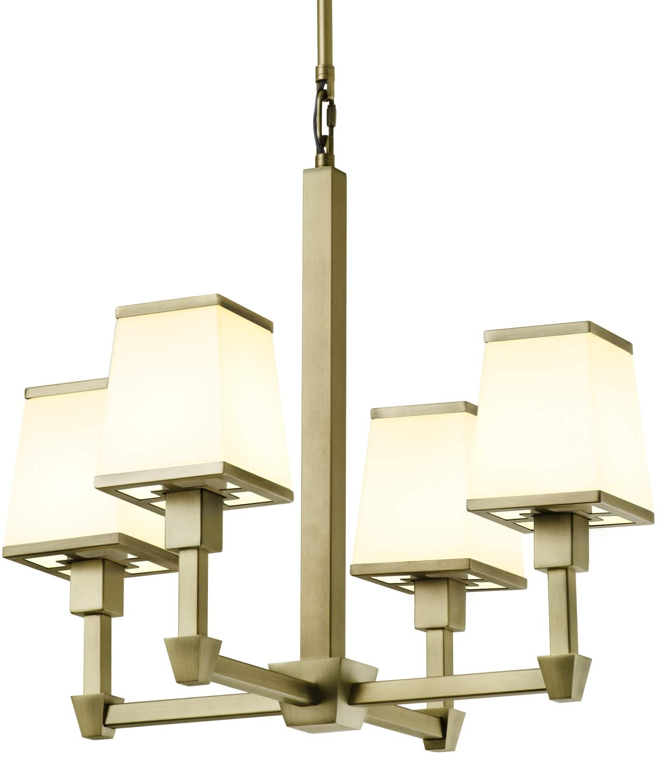 Brass 4-Light Round Chandelier - Hanging Ceiling Fixture with Tapered Glass Shades, Adjustable Height, Damp Located, Dimmable, ETL Listed - Kingston Collection by Brooklyn Bulb Collection
