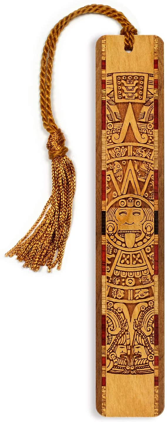 Personalized Aztec/Mayan Calendar, Engraved Wooden Bookmark with Tassel - Search B01AIVPDN4 for Non-Personalized Version