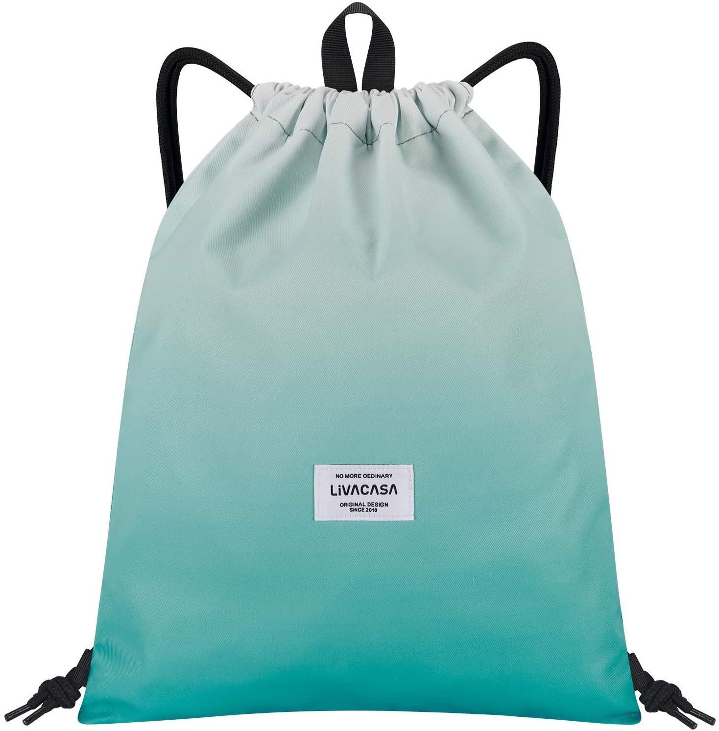 LIVACASA Drawstrings Backpacks Bags for Men Women Kids Gym Drawstrings Bag