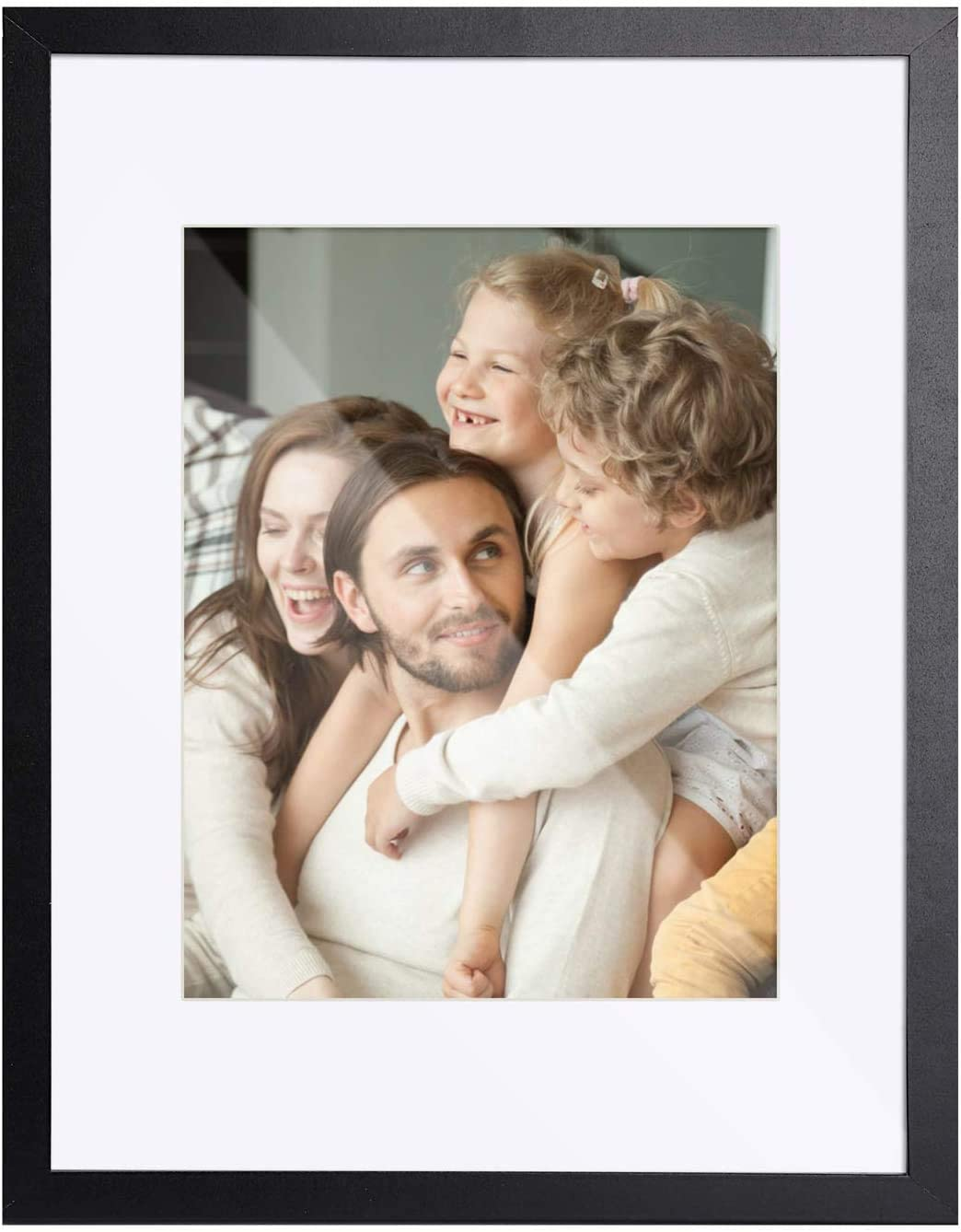 TWING 11x14 Picture Frame Black Wood Displays 8x10 Photo Frame with Mat or 11x14 Inch Without Matted Shatter-Resistant Glass Table Top Display and Wall Mounting