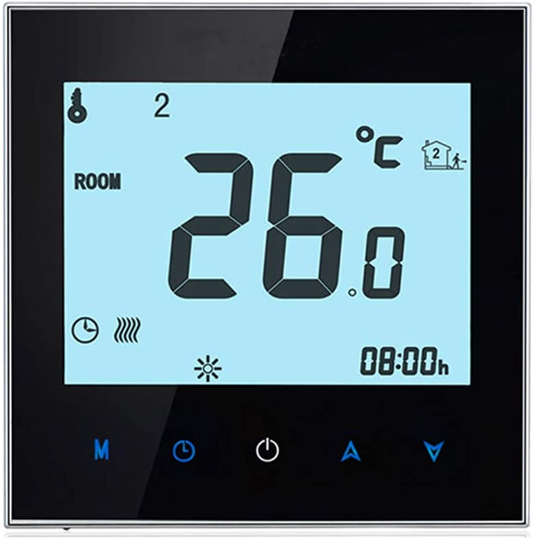 Home Programmable Thermostat with WiFi for Water Heating System, Kecheer Smart Thermostats Touchscreen Heat Only Thermostat with App and Voice Control for Hot Water Recirculating System 95-240V, Black
