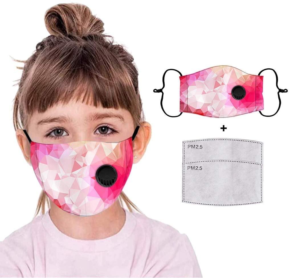 Simayixx 1pcs Kids Face Masd with Breath Valve Filter Reusable Bandanas Adjustable Earloop Washable Dustproof Haze