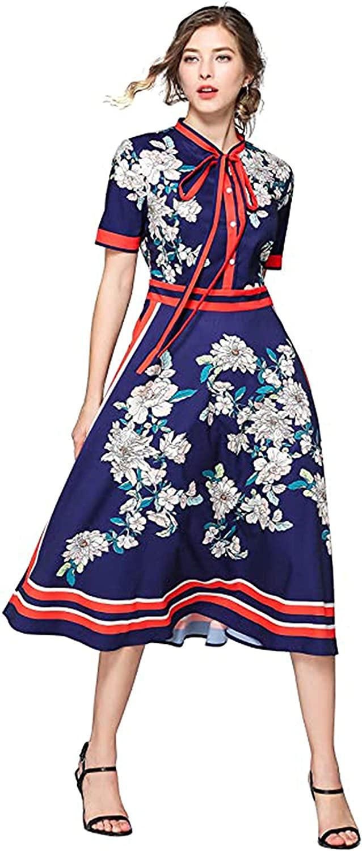 LAI MENG FIVE CATS Women's Tie Neck Floral Print Button up Casual A-line Midi Dress