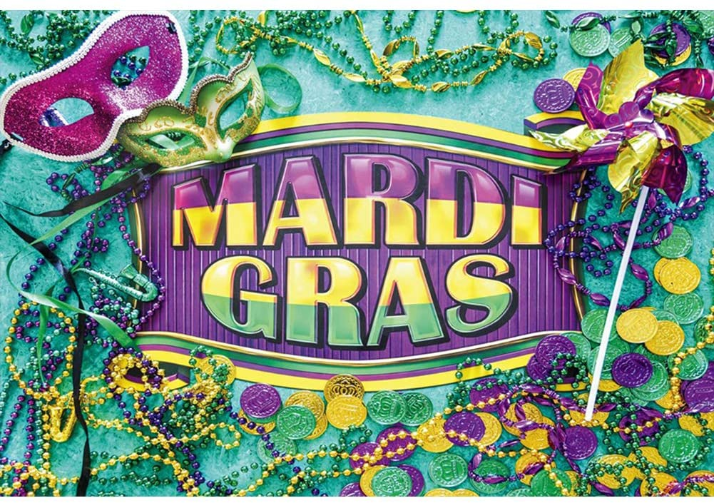 Yeele 6x4ft Mardi Gras Backdrop for Photography Masquerade Makeup Parade Party Mask Necklace Coin Background Christian Activity Party Photo Booth Shoot Studio Props