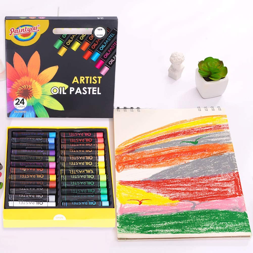 24 Colors Oil Pastels Heavy Colors Oil Pastels Rod Set Washable Round Oil Crayon Assorted Color Drawing Crayon Kids Adults Artists Art Tool Painting Stick Art Supplies for Coloring Book Sketching