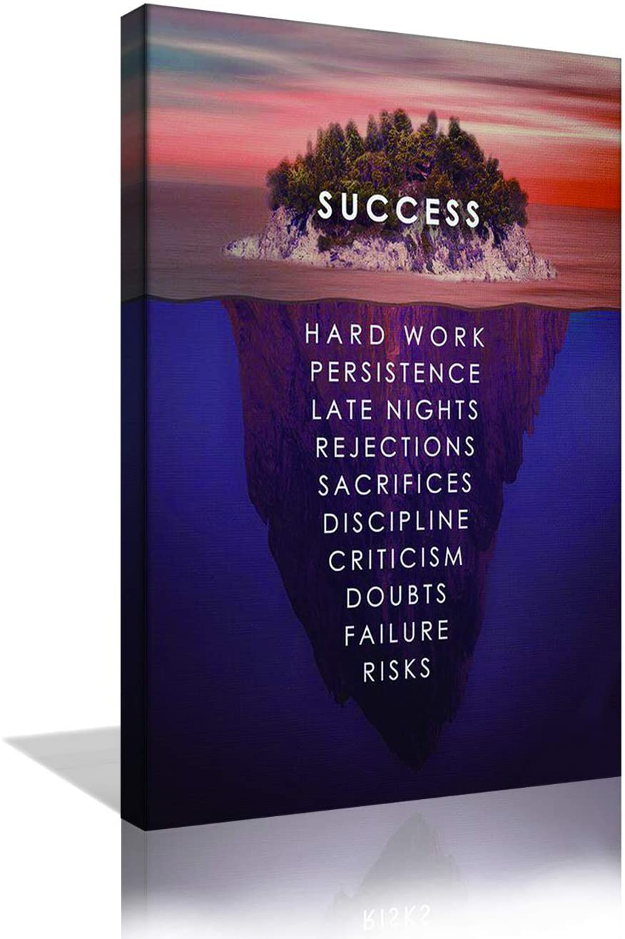 Success Inspirational Wall Art Motivation Entrepreneur Quotes Canvas Painting Prints Success Island Pictures Posters Modern Inspiring Office Decor Living Room Gym Decorations Framed Ready to Hang