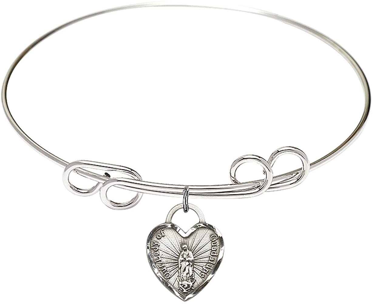 Bonyak Jewelry Round Double Loop Bangle Bracelet w/Our Lady of Guadalupe Heart in Sterling Silver