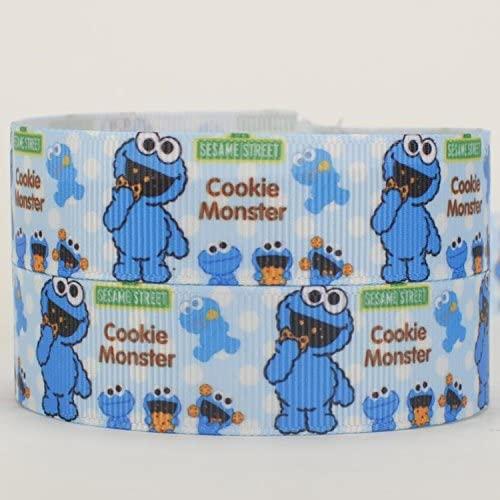 10yards 7/8 22mm Sesame Street cookie monster ribbon printed Grosgrain Ribbon