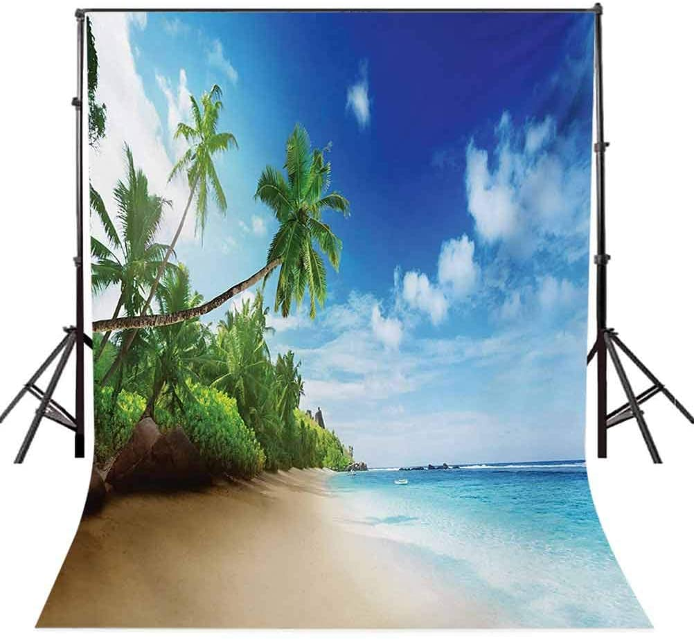 Ocean 10x20 FT Photo Backdrops,Beach Sunset Tranquil Tropical Sea Waves Coconut Palms Outdoors Photo Background for Photography Kids Adult Photo Booth Video Shoot Vinyl Studio Props