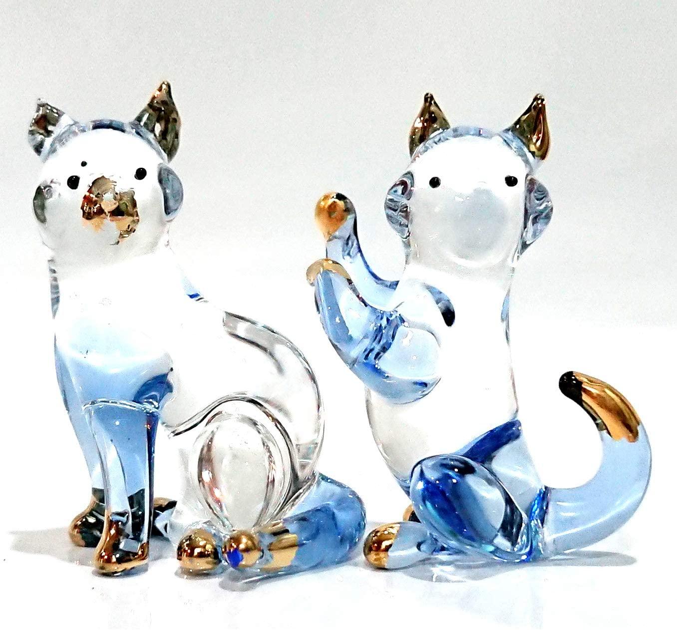 Sansukjai 2 Cats Miniature Figurines Animals Hand Blown Glass Art 22k Gold Trim Collectible Gift Decorate, Clear Blue