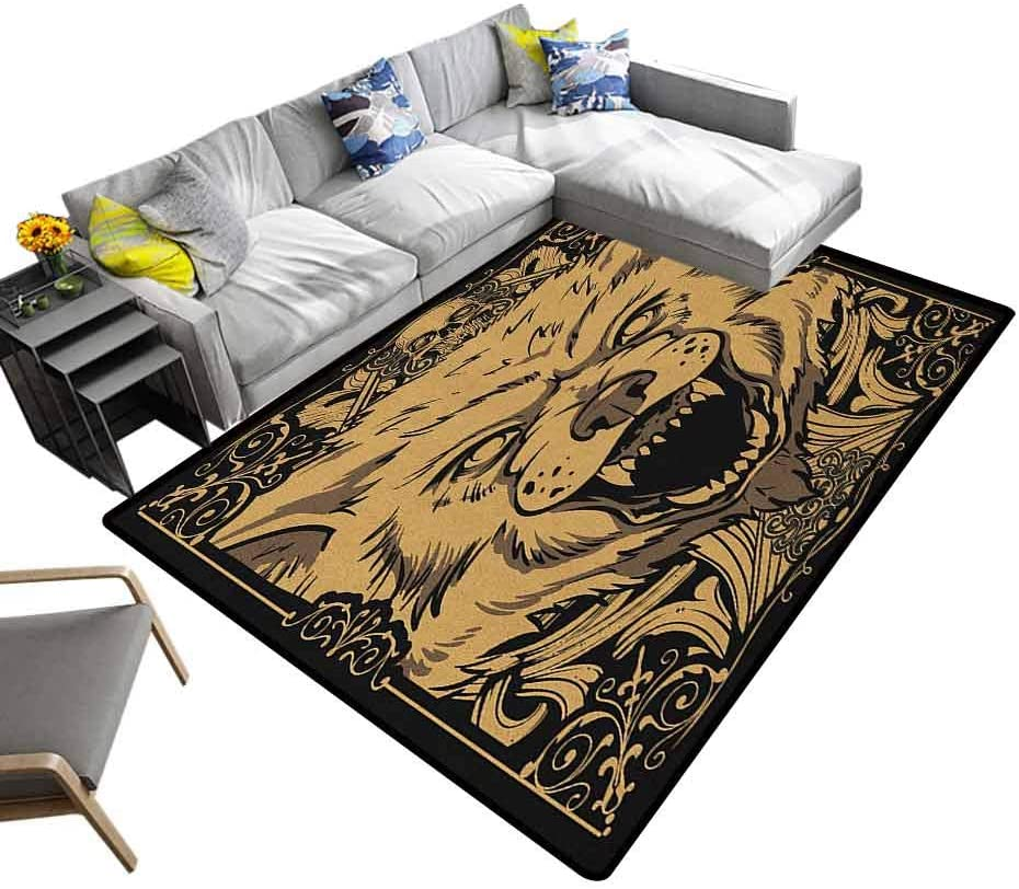 Non Skid Rugs Wolf, Shag Fur Carpet Angry Carnivore Animal Face with Skull Ornamental Curlicues Swirls Lines Frame for Floors, Bed and Living Room Black Pale Caramel, 6.5 x 10 Feet