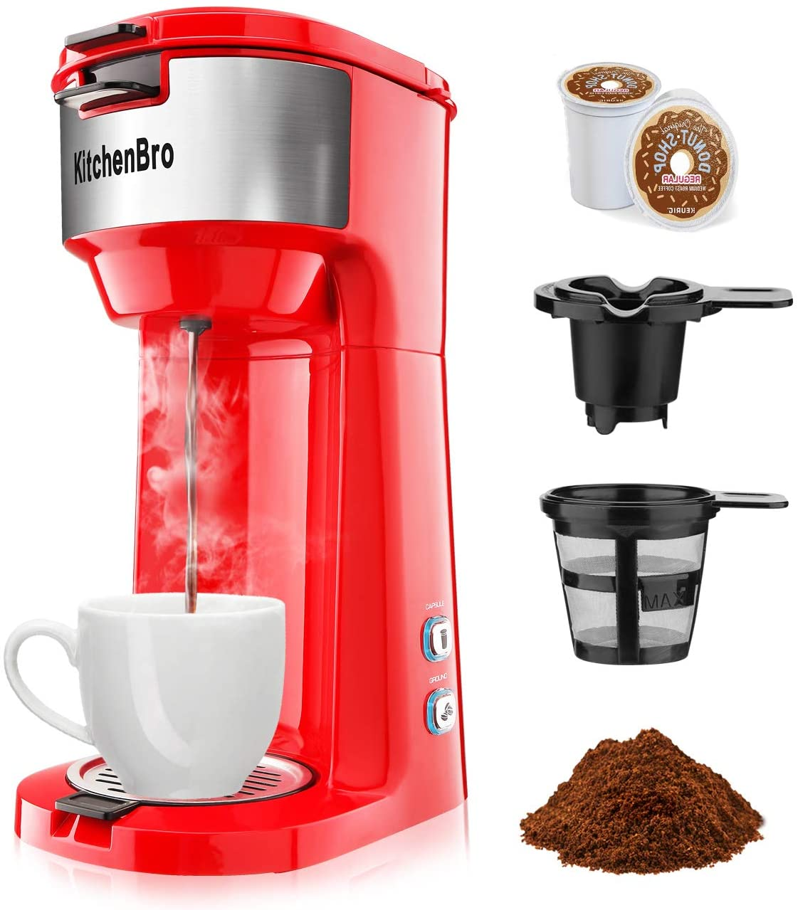 KitchenBro Single Serve Coffee Maker for K Cup Coffee Pod & Ground Coffee. Portable Coffee Maker Brewer for Travel, Office. Small Single Cup Coffee makers Can Fast Brew in 3 Mins. The One Cup Coffee Maker with Strength Control, Self Cleaning and Auto Shut Off.Red
