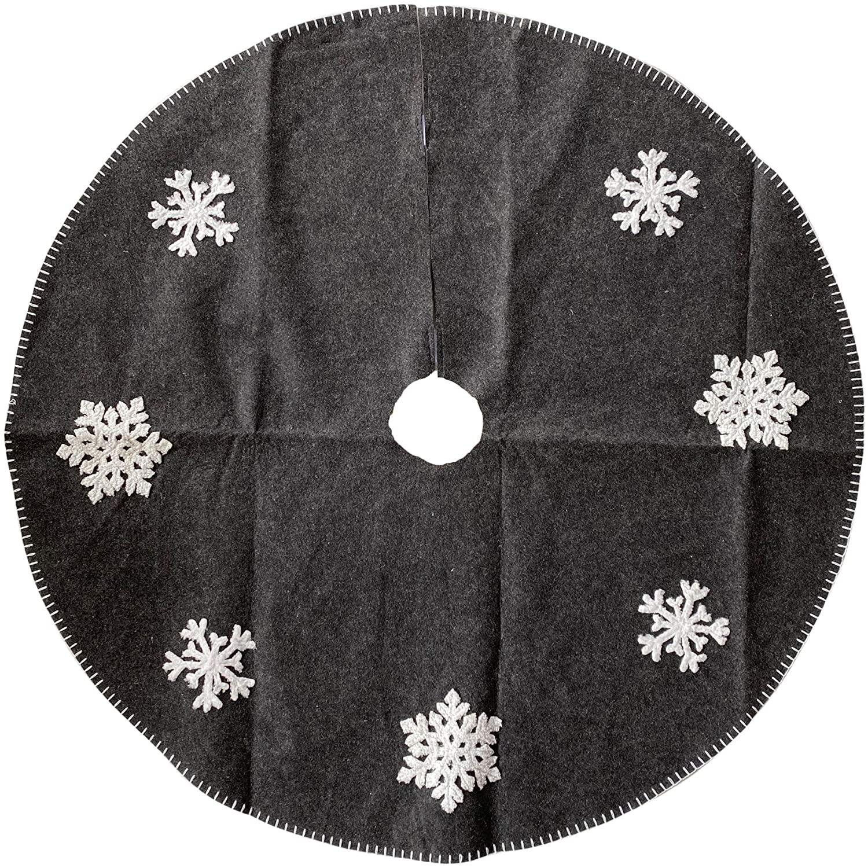 Tree Skirt Simple Snowflake - Gray Nuetral Decor - Large 36