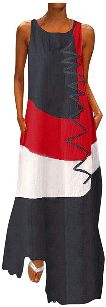 Dunacifa Womens Boho Vintage Sleeveless Long Tank Dress Crewneck Patchwork Summer Casual Loose Party Maxi Dresses Plus Size