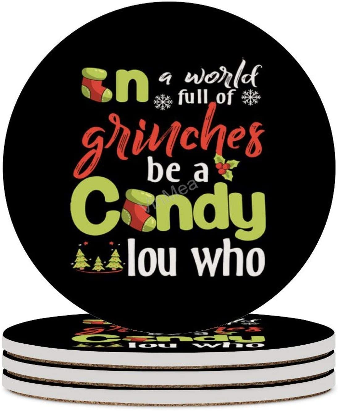 Set of 4 Ceramic Coasters In A World Full Of Grinches Be A Cindy Lou Who Christmas Round Drink Coasters with Cork Base Christmas Housewarming Gift Kitchen Bar Décor