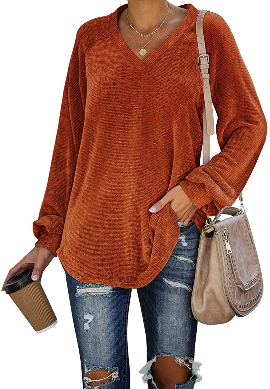 WIHOLL Womens Long Sleeve V Neck Corduroy Shirts Loose Casual Tunic Tops