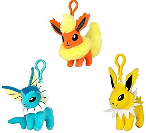 U.C.C. Distributing Exclusive Eeveelution of Eevee Set of 3 Plush Clip Toys with Official Tags Includes - Vaporeon , Flareon & Jolteon