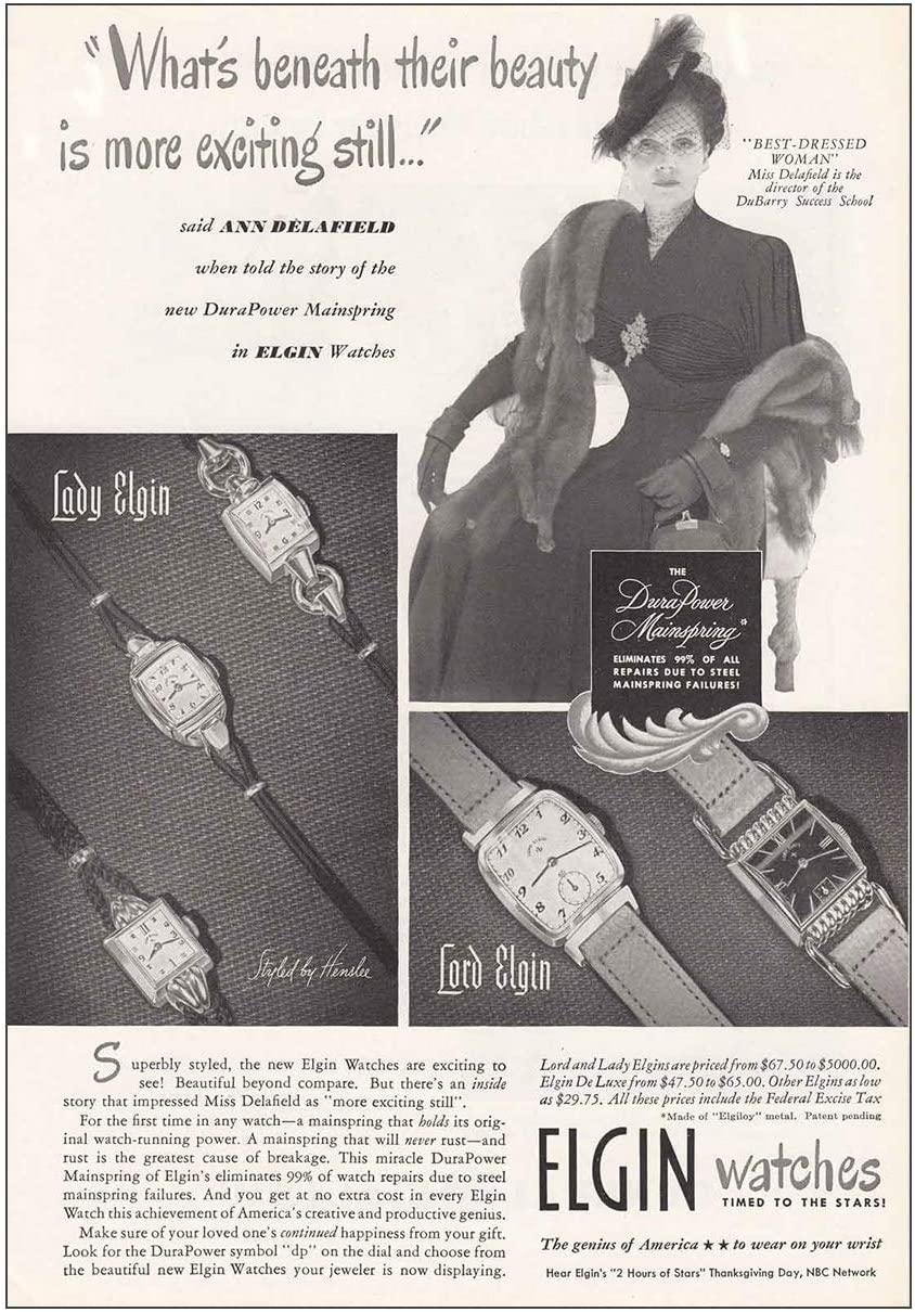 RelicPaper 1948 Elgin Watches: Ann Delafield, Best Dressed Woman, Elgin Watch Company Print Ad