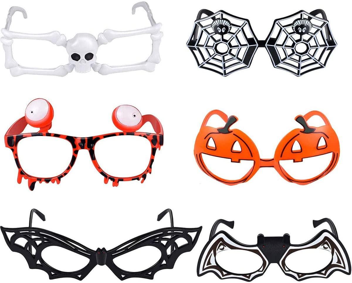 Freebily 6pcs Novelty Halloween Eyeglasses, Pumpkin Bat Spider Web Skeleton Shape Eyeglasses for Halloween Costume Party Prop Decorations Multicolor One Size