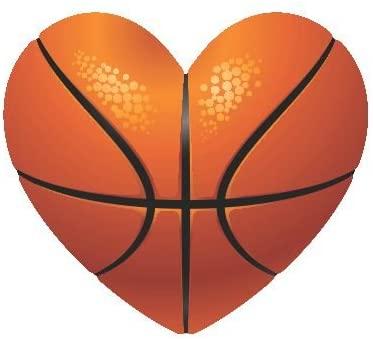 Slap-Art Basketball Heart I Love Basketball Vinyl Bumper Sticker Decal net Hoop Shoes Jersey Card hat