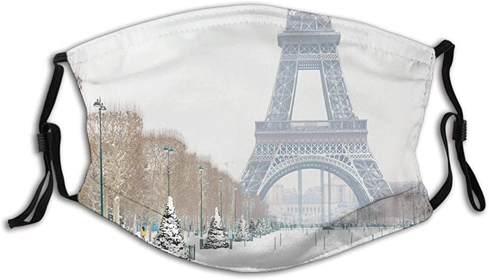 Dustproof Face Mask,Reusable,Washable Cloth,Face Cover,Cover for Dust Adults Eiffel Tower Covered in Snow Outdoors Champ de Mars Tourist Attraction Paris France