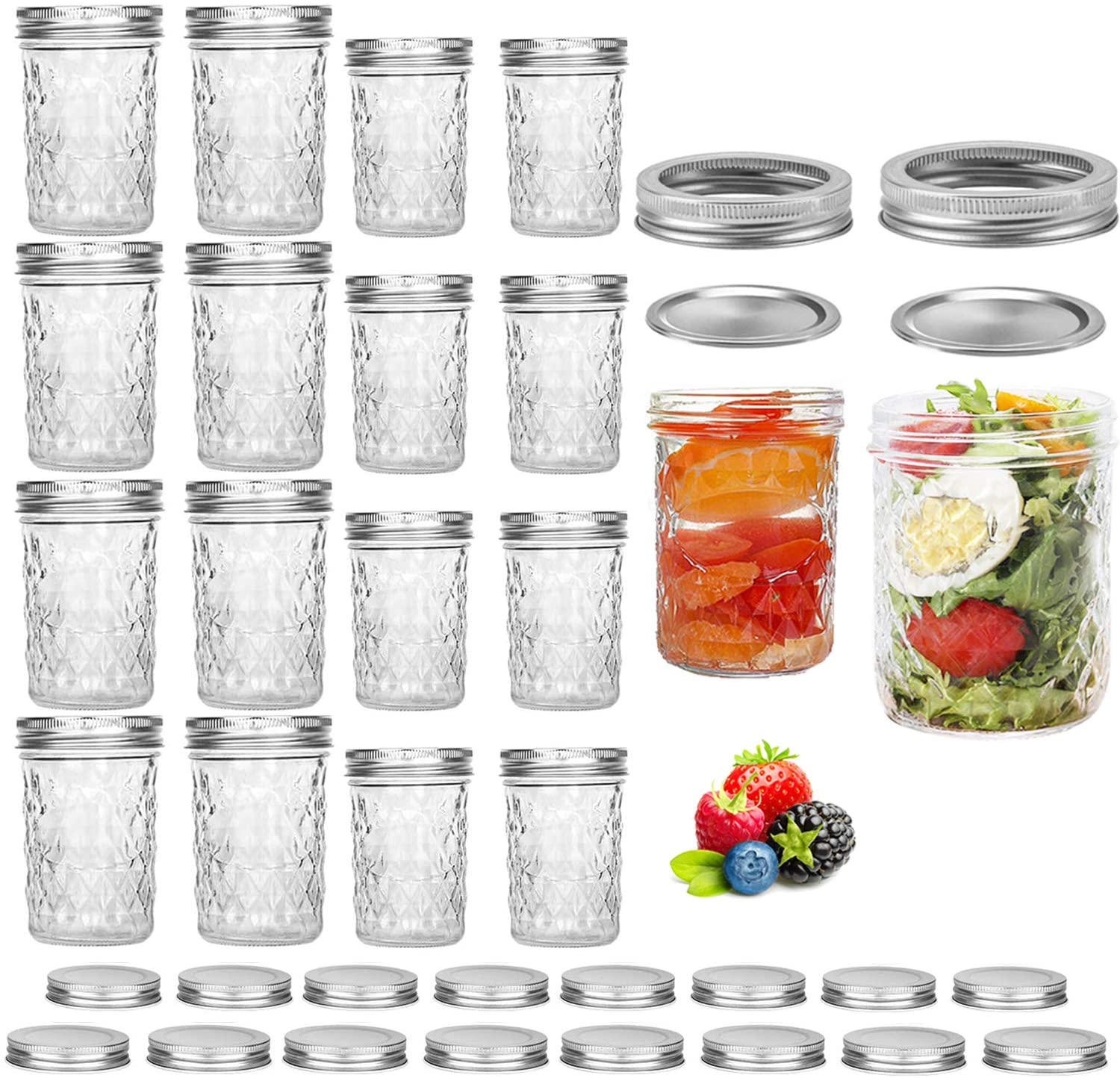 Pack of 16 Mason Jars, Canning Jars, Jelly Jars With Regular Lids, Ideal for Jam, Honey, Baby Foods, Pickling, Preserving, Fermenting, Craft and Dry Food Storage, Spice Jars - 8 OZ x 8, 16 OZ x 8