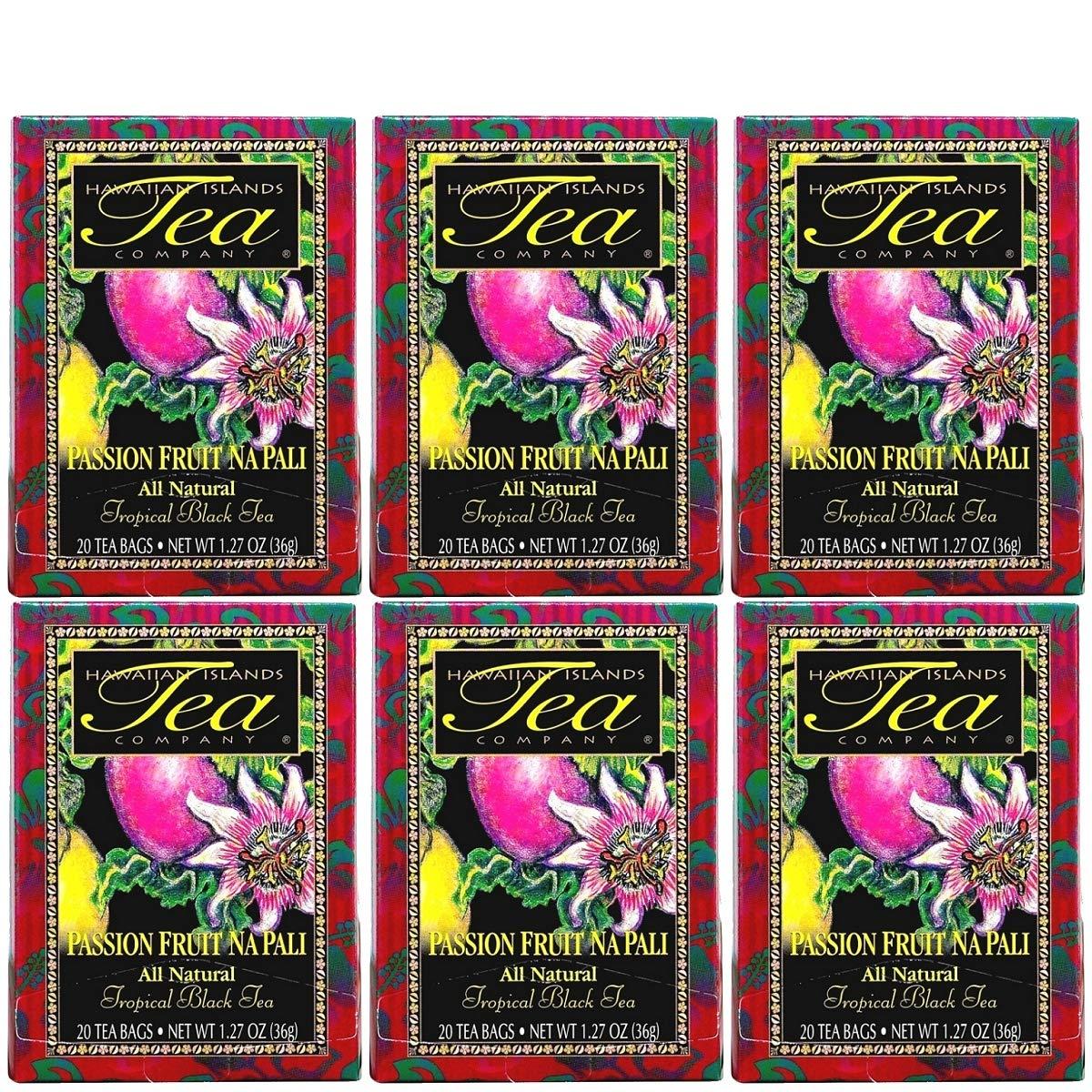 Hawaiian Islands Passion Fruit Na Pali Tropical Black Tea, All Natural - 20 Teabags (6 Boxes)