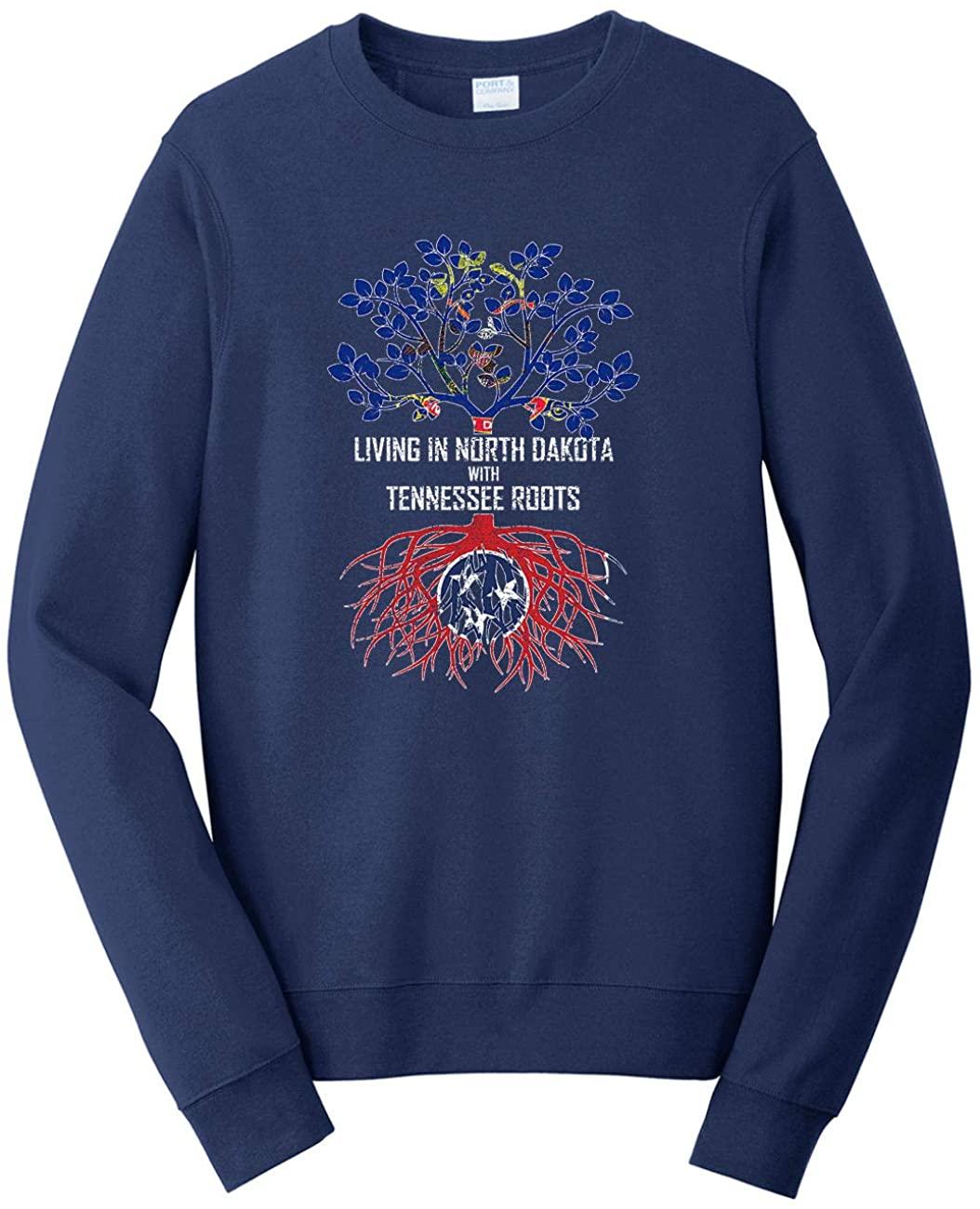 HARD EDGE DESIGN Unisex Living in North Dakota with Tennessee Roots Sweatshirt, Medium, Navy
