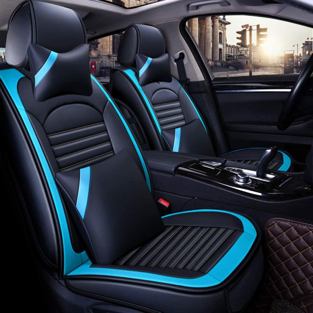Car Seat Covers, Universal Full Set Four Seasons Leather Waterproof Breathable Support Pad Car Seat Cushion for Audi A3 / A4 / A5 / A6 / A8 / Q3 / Q5 / Rs4,Luxury-Blue