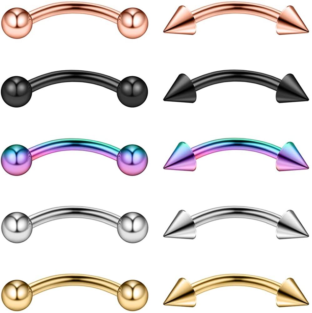 Ruifan 10-16PCS 16G Surgical Steel Eyebrow Ear Navel Belly Lip Ring Body Piercing Jewelry