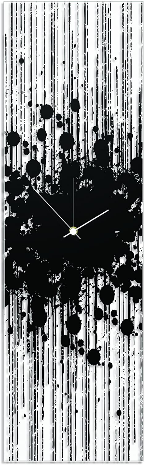 Contemporary Decor 'Black Paint Splatter Clock' by Adam Schwoeppe - Original Black Kitchen Clock Urban Clock Art on Plexiglass