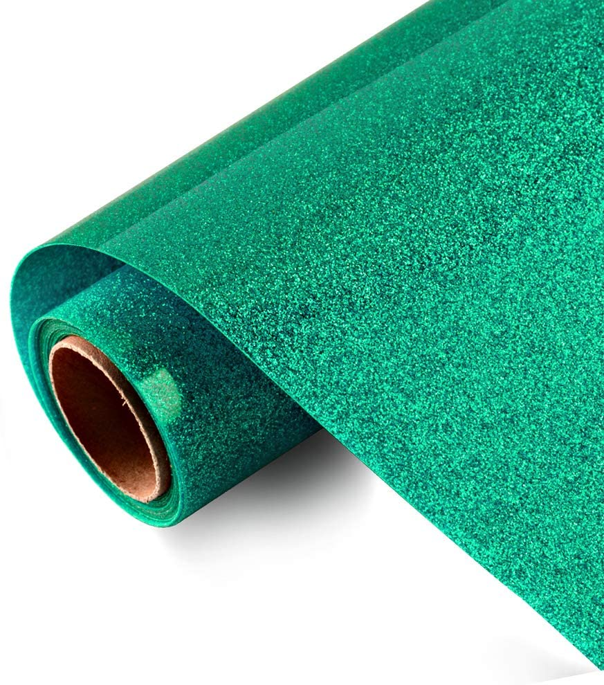 Glitter HTV Iron on Vinyl 10inch x 5feet Roll by Viewmoi for Silhouette and Cricut Easy to Cut & Weed Heat Transfer Vinyl DIY Heat Press Design for T-Shirts (Jade)