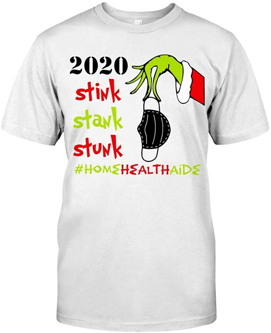 NovaStar T-Shirts Christmas Grinch Shirt Stink Stank Stuck Home Health Aide - HHA T-Shirt Funny Gift for Men Women