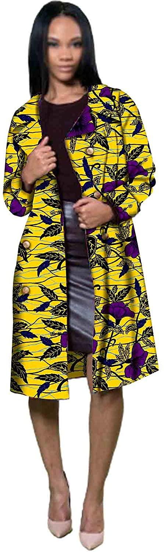 African Clothing for Women Ankara Print Plus Size Long Coat Women Overcoat Trench Dashiki Women Coats Jacket