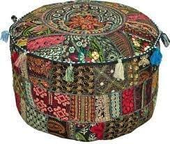 Rastogi Handicrafts Bohemian Patch Work Ottoman Cover,Traditional Vintage Indian Pouf Floor/Foot Stool, Christmas Decorative Chair Cover,100% Cotton Art Decor Cushion