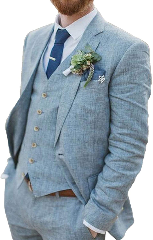 Men Linen Suits Sets Light Blue Teens Blazer Party Outfit Men Suits Slim Fit 3 Piece Tux