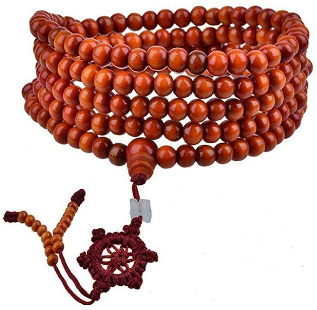 Turkr Men's Womens Sandal Wood Prayer Mala Beads Chinese Knot Elastic Bracelet Link Wrist Necklace Chain
