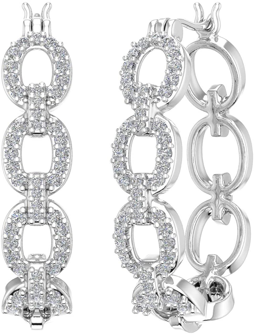 1/2 Carat Diamond Linked Hoop Earrings in 10K Gold