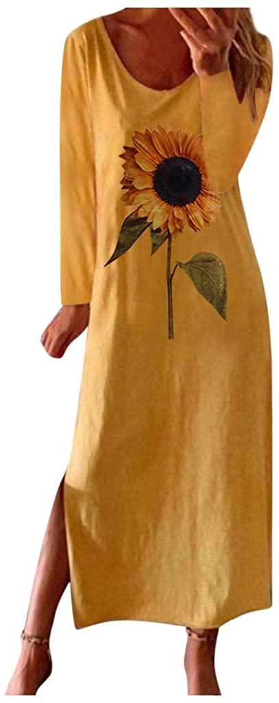Womens Dresses Casual Plus Size Sunflower Print Long Sleeve Maxi Dress Party Shirt Slit Long Dess Boho Sundress