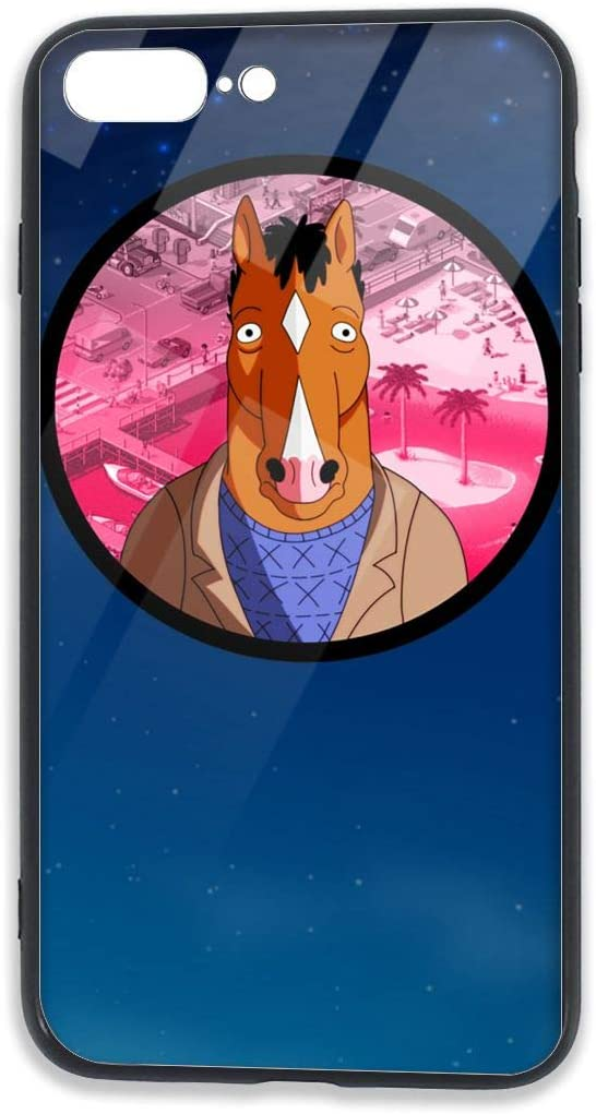 Zengqinglove BoJack Horseman Tempered Glass Rear Case are Compatible with The Bumper Soft TPU Cover Case Applicable to The Shock Absorption Technology of E iPhone 7/8 Plus